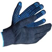 Перчатки трикотажные с ПВХ Eurotec 4 нити 10 кл черные, пара 300/300