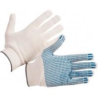 Перчатки трикотажные с ПВХ (4 нити, 10 кл, Люкс) белые, пара 250/250
