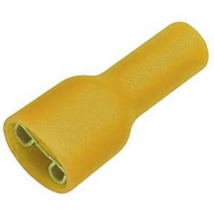 """Клемма ножевая 6.3 мм """"мама"""" полностью изолированная желтая, шт 100/100"""