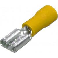 """Клемма ножевая 6.3 мм """"мама"""" изолированная желтая , шт 100/100"""