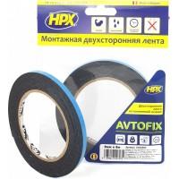Лента клейкая двусторонняя сильной фиксации HPX Autofix 06х1.0 мм черная, рулон 5 м 1/20