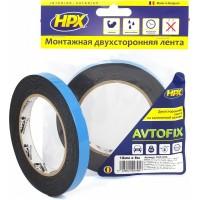 Лента клейкая двусторонняя сильной фиксации HPX Autofix 12х1.0 мм черная, рулон 5 м 1/10
