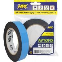 Лента клейкая двусторонняя сильной фиксации HPX Autofix 19х1.0 мм черная, рулон 5 м 1/10