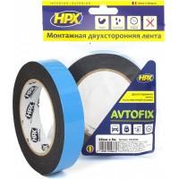 Лента клейкая двусторонняя сильной фиксации HPX Autofix 25х1.0 мм черная, рулон 5 м 1/10