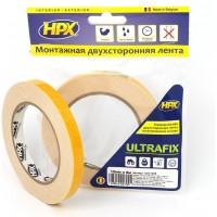 Лента двусторонняя универсальная HPX Ultrafix 12х1.0 мм белая, рулон 5 м 1/10