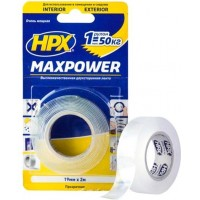 Лента клейкая двусторонняя HPX Maxpower 19х1.0 мм прозрачная, рулон 2 м в блистере 1/20