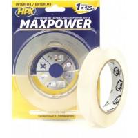 Лента клейкая двусторонняя HPX Maxpower 19х1.0 мм прозрачная, рулон 5 м в блистере 1/10