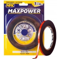Лента клейкая двусторонняя HPX Maxpower Outdoor 06х1.1 мм черная, рулон 5 м в блистере 1/10