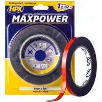 Лента клейкая двусторонняя HPX Maxpower Outdoor 09х1.1 мм черная, рулон 5 м в блистере 1/10