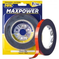 Лента клейкая двусторонняя HPX Maxpower Outdoor 12х1.1 мм черная, рулон 5 м в блистере 1/10
