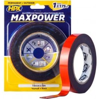 Лента клейкая двусторонняя HPX Maxpower Outdoor 19х1.1 мм черная, рулон 5 м в блистере 1/10
