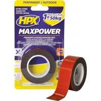 Лента клейкая двусторонняя HPX Maxpower Outdoor 25х1.1 мм черная, рулон 1.5 м в блистере 1/20