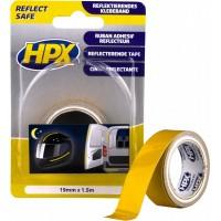 Лента светоотражающая HPX 19 мм желтая, рулон 1.5 м в блистере