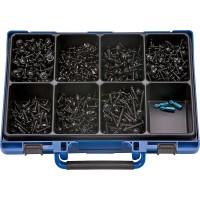 Набор саморезов с пресс-шайбой и буром цинк. черн. в чемодане (1103шт.), набор