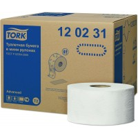Бумага туалетная в рулоне Mini Tork Advanced T2 2сл. 170мх9,5см белый (уп. 12шт.)