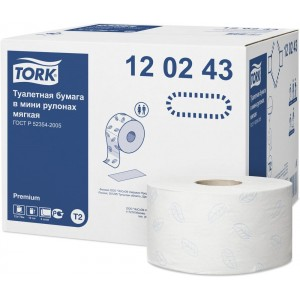 Бумага туалетная в рулоне Mini Tork Premium T2 1214л. 2сл. 170мх9,5см белый (уп. 12шт.)
